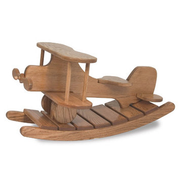 Fireskape Amish Unique Crafted Airplane Rocker Heirloom Toy Finish: Maple Black