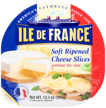 Ile De France® Soft Ripened without the Rind Cheese Slices 12.3 oz. Tray