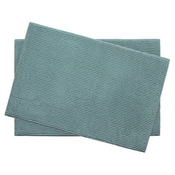 Bath Studio Plush Memory Foam Chenille Cushioned Bath Mat (Set of 2), Marine Blue, 20 x 30