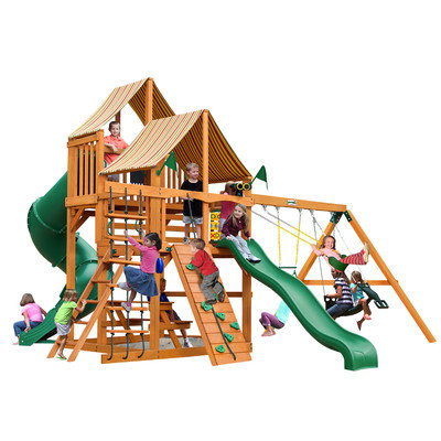 Gorilla Playsets Playground Equipment. Great Skye I with Amber Posts and Sunbrella Weston Ginger Canopy Cedar Playset