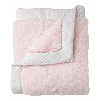 Just Born Sleep Well Barely Pink Cuddle Plush Blanket with Printed Valboa Border