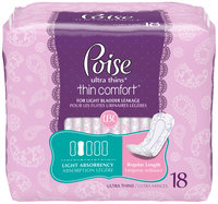 Poise® Ultra Thins* Thin Comfort* Light Absorbency Regular Length Incontinence Pads 18 ct Pack