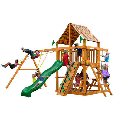 Gorilla Playsets Playground Equipment. Chateau II with Amber Posts and Sunbrella Weston Ginger Canopy Cedar Playset