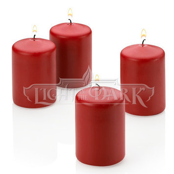 Light In The Dark Candles 3 in. Tall x 2 in. Wide Unscented Red Pillar Candle (Set of 4) LITD-R-PILLAR-2x3-SET4