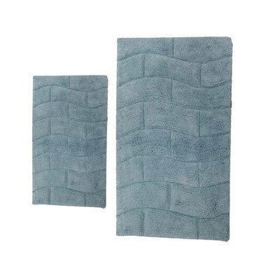 Textile Decor Castle 2 Piece 100% Cotton New Tile Spray Latex Bath Rug Set, 24 H X 17 W and 40 H X 24 W