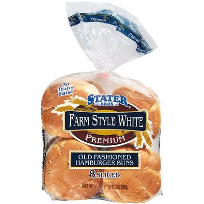 Stater Bros. Old Fashioned Hamburger Farm Style White 8 Ct Buns 21 Oz Bag