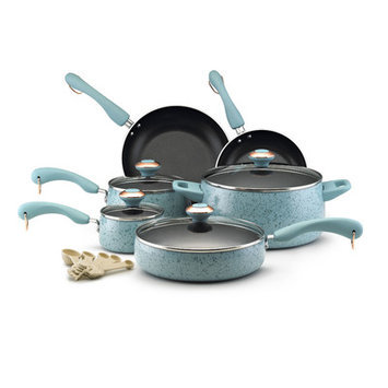 Paula Deen 15-pc. Nonstick Signature Porcelain Cookware Set, Aqua Speckle