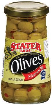 Stater Bros. Minced Pimiento Stuffed Manzanilla Olives 5.75 Oz Jar