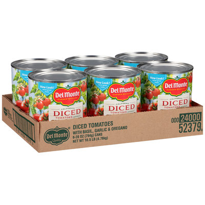 Del Monte™ California Diced Tomatoes with Basil Garlic & Oregano 6-28 oz. Cans