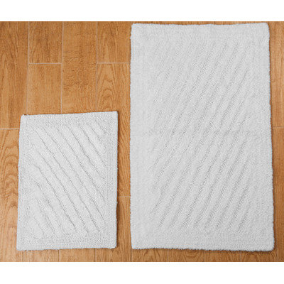 Textile Decor Castle 2 Piece 100% Cotton Shooting Star Reversible Bath Rug Set, 30 H X 20 W and 40 H X 24 W