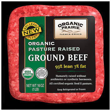 ORGANIC PRAIRIE 93/7 Pasture Raised Frozen Ground Beef 1 LB PACKAGE