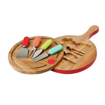 Fiesta 4 Piece Cheese Tools with Swivel Board