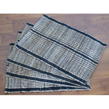 Leaf & Fiber Set of 4 Handwoven Stripe Natural Placemats (India)