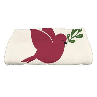 E By Design Coastal Christmas Noel Bird Bath Towel Color: Cranberry