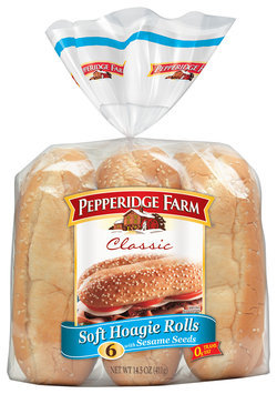 Pepperidge Farm Classic Soft Hoagie Rolls with Sesame Seeds 6 Ct 14.5 Oz Package