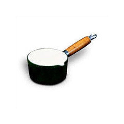 World Cuisine A1734114 Green Chasseur Milk Pan with Spout and Wooden Handle