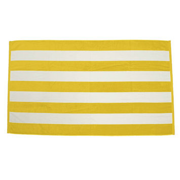 Terry Town Beach Towel Color: Yellow / White