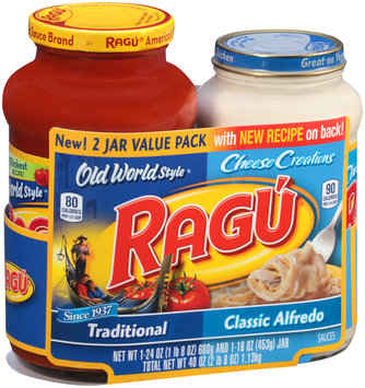 Ragu® Old World Style® Traditional & Cheese Creations Classic Alfredo Sauces Variety Pack 40 oz. Sleeve