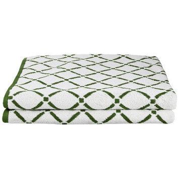 Simple Luxury Superior Luxurious Diamonds Bath Sheet (Set of 2), Hunter Green/Cream