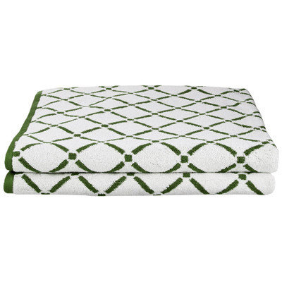 Simple Luxury Superior Luxurious Diamonds Bath Sheet (Set of 2), Hunter Green/Cream