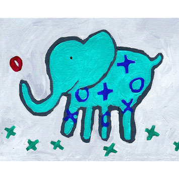 Cici Art Factory Paper Prints X & O Elephant Canvas Print