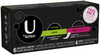 U by Kotex Sleek* Super Tampons & Barely There* Liners Trial Pack 10 ct Box