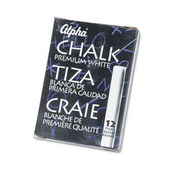Quartet Alpha Nontoxic Low Dust Chalk, White, 12-Pack