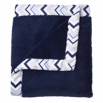 Just Born Sleep Well Navy Cuddle Plush Blanket with Printed Valboa Border