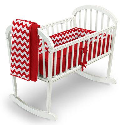 Baby Doll Bedding Chevron 3 Piece Cradle Bedding Set Color: Red
