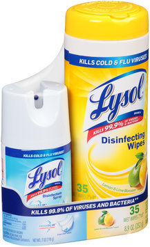 Lysol Crisp Linen Scent Disinfectant Spray/Lemon & Lime Blossom® Disinfecting Wipes