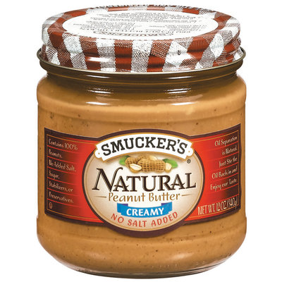 Smucker's Natural Creamy No Salt Added Peanut Butter 12 Oz Jar
