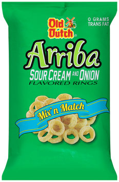 Old Dutch® Arriba® Sour Cream and Onion Flavored Rings 8 oz. Bag