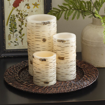 Birch Lane Birch Bark Flameless Pillar Candle Color: Birch Bark, Size: Large