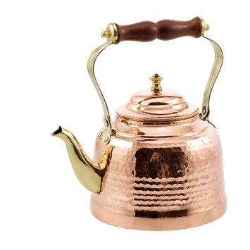 Old Dutch International Hammered Copper & Wooden Handle 2-Qt. Tea Kettle
