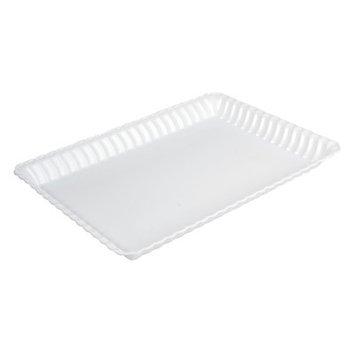 Fineline Settings, Inc Flairware Rippled Bulk Disposable Plastic Serving Tray (48/Case), White