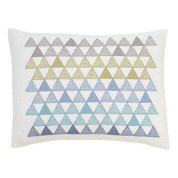 Dwellstudio Triangles Cross Stitch Pillow