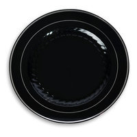 Fineline Settings, Inc Silver Splendor Plate (Pack of 120), 10 W x 10 D, Black with Silver Accent