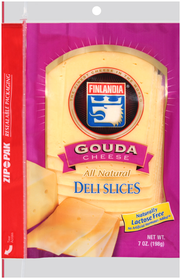 Finlandia® Natural Gouda Cheese Deli Slices 7 oz. Pack