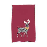 E By Design Jump for Joy Merry Deer Hand Towel Color: Cranberry