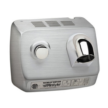 World Dryer AirStyle Commercial Hair Dryer Voltage: 110-120 V, 15 Amps, Finish: Brushed Stainless Steel
