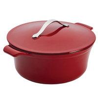 Anolon Vesta Cast Iron Cookware 5-Quart Round Covered Casserole, Paprika Red