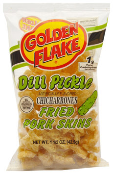 Golden Flake® Dill Pickle Chicharrones Fried Pork Skins 1.5 oz. Box