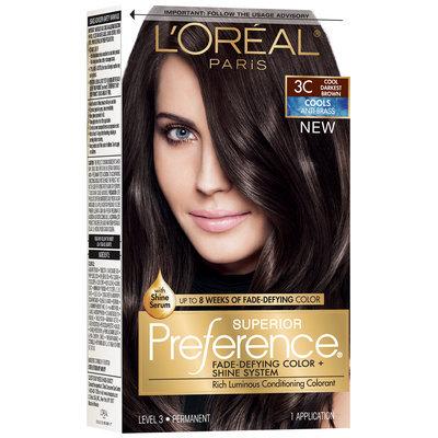 L'Oréal® Paris Superior Preference® Cools Anti-Brass 3C Cool Darkest Brown Hair Color 1 Kit Box