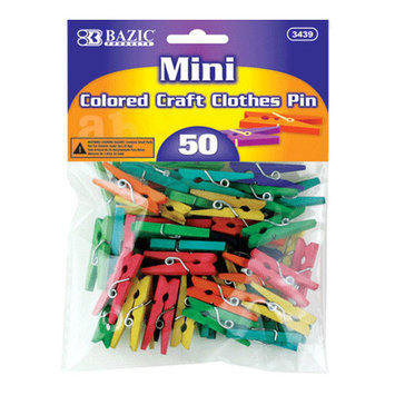 Bazic 50 Ct. Mini Colored Clothespins Set Quantity: Case of 24