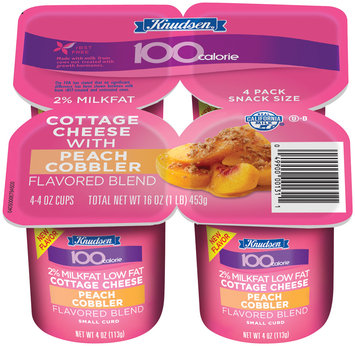 Knudsen 100 Calorie Peach Cobbler Small Curd 2% Milkfat 4 Oz  Cottage Cheese 4 Ct Cups