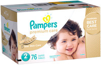 Premium Pampers Premium Care Diapers Size 2 76 count
