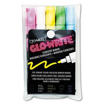 Quartet 5090 Glo-Write Fluorescent Markers Five Assorted Colors 5/Set