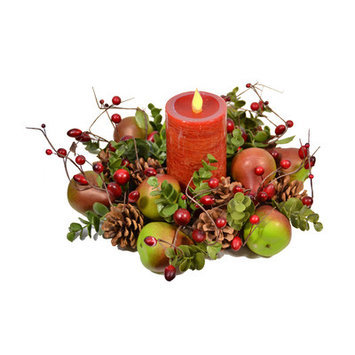Fantastic Craft Pear Ring with Pillar Candle Color: Green/Red