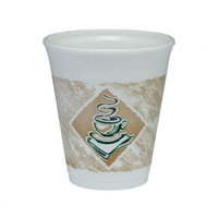 Dart 8 oz Foam Hot/Cold Cups Caf G Design in White/Brown with Green Accents