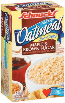 Schnucks Maple & Brown Sugar Lower Sugar 10 Ct Instant Oatmeal 10.9 Oz Box